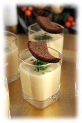 Cold White Gazpacho Soup with Roasted Green Grapes and Vin Blanc Verjus